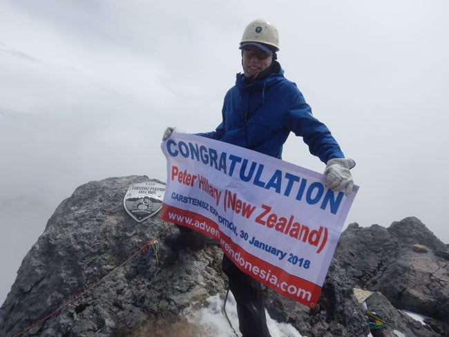 Peter Hillary on top of carstensz
